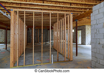 Basement interior wall framing renovation new home construction
