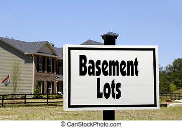 Basement Lots - Realty Sign advertising basement lots...