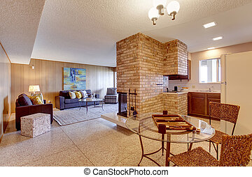 Basement open floor plan. Living room with dining and kitchen ar