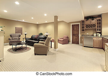 Basement with kitchen area - Lower level basment with...