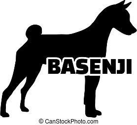 Basenji silhouette with name