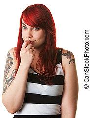 Bashful Young Woman