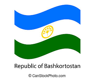 Bashkortostan flag, Russian federation territory. Ethnic Russia country flag. Flag in the wind