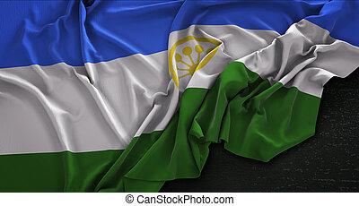 Bashkortostan Flag Wrinkled On Dark Background 3D Render