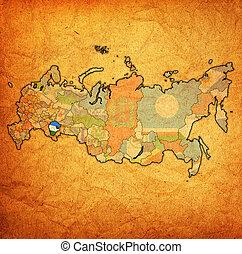 Bashkortostan oblast on administration map of russia