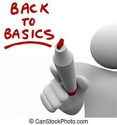 basi, indietro, scrittura, pennarello, messaggio, rosso