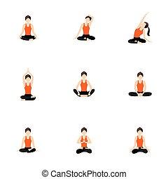 Basic and advanced seated yoga asanas set