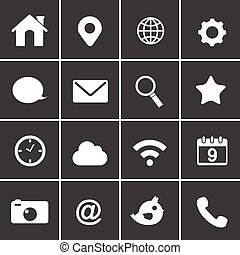 basic, ansøgning, vektor, væv ikoner