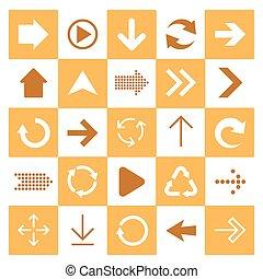 Basic arrow sign icons set.