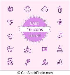 Basic - Baby icon set 16 icons