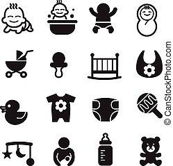 Basic Baby icons set Vector illustration