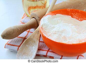 Basic baking ingredients eggs, flour