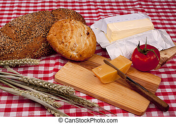 Simple old fashioned breakfast with bread and cheese