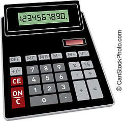 Vector illustration of basic black calculator with 3D perspective
