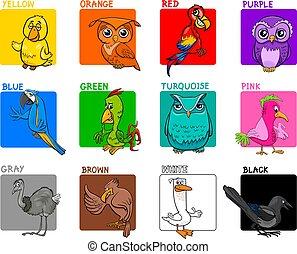 basic colors cartoon educational set with birds