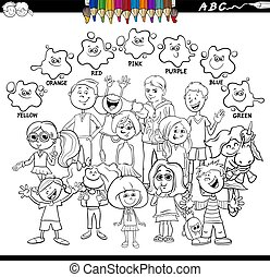 basic colors coloring book with children