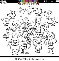 basic colors coloring book with happy kids