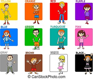 basic colors educational set with kids