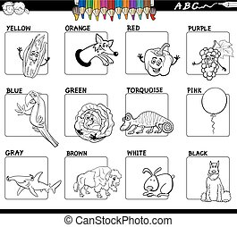 basic colors educational worksheet for coloring - Black and...