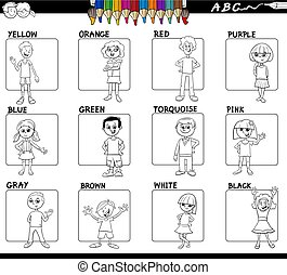 basic colors with kids set for coloring