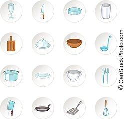 Basic dishes icons set