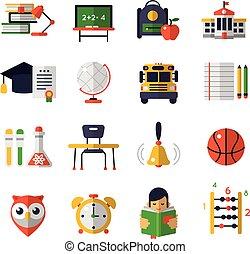 Basic Education Flat Icon Set