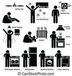 Basic Electronic Appliances Icons - A set of human pictogram...