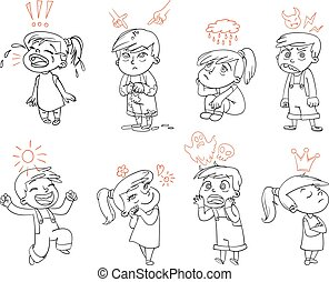 Basic emotions. Funny cartoon character