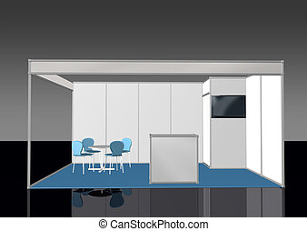 Basic exhibition stand booth 3D front view