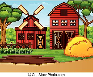 Basic Farm landscape with shed and windmill