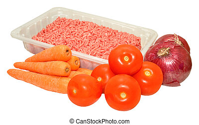 A selection of basic food groceries including minced beef, carrots, tomatoes and red onions, isolated on a white background.