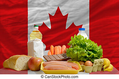 complete national flag of canada covers whole frame, waved, crunched and very natural looking. In front plan are fundamental food ingredients for consumers, symbolizing consumerism an human needs