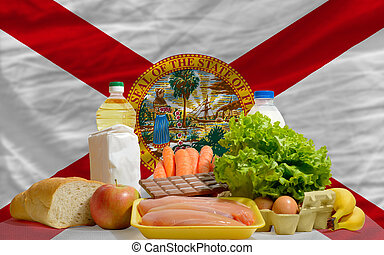complete american state flag of florida covers whole frame, waved, crunched and very natural looking. In front plan are fundamental food ingredients for consumers, symbolizing consumerism an human needs