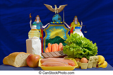 basic food groceries in front of new york us state flag