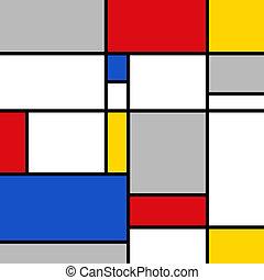 Basic Geometric Polygon Color Composition