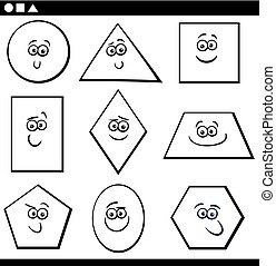 Black and White Cartoon Illustration of Educational Basic Geometric Shapes Funny Characters for Children Coloring Page