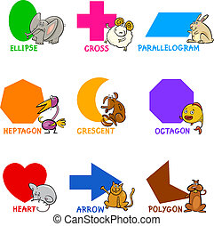 0f76a554c25 Cartoon Illustration of Basic Geometric Shapes with Captions and Animals  Comic Characters for Children Education