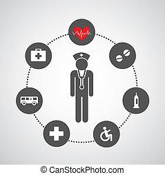 basic hospital icons set