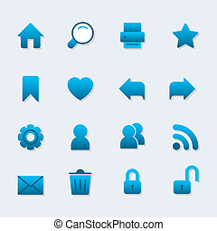 Basic iconset for web design, gradient with shadow