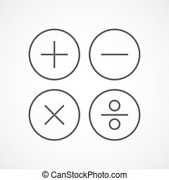 Basic mathematical symbols. Vector illustration.