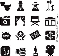 Basic Movies icons set Vector illustration