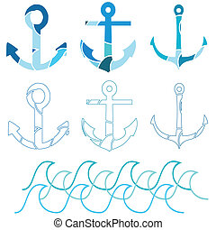 Basic RGB - A set of three different anchors and outline...