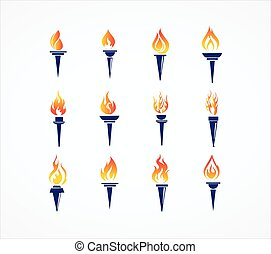Basic RGB - Greek Olympic Torch set with golden crown of...
