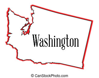 Basic RGB - Out;ine of the state of Washington isolated