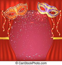 Basic RGB - Red background with theater stage and masks. ...