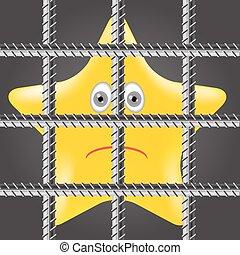 Basic RGB - Single Yellow Star is Behind Prison Bars