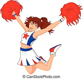 Basic RGB - vector illustration of cheerleader girl