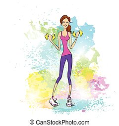 Basic RGBSport woman hold dumbbells fitness trainer, hot sexy girl bodybuilder over colorful splash paint