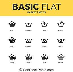 Basic set of Basket icons - Basic set of basket, cost basket...