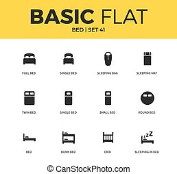 Basic set of bed icons - Basic set of single bed form,...